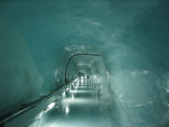 Inside a glacier at the top of the train station at the Jungfraujoch