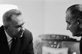 Soviet Premier Alexei Kosygin (left) with U.S. President Lyndon B. Johnson at the 1967 Glassboro Summit Conference.