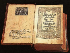 Martin Luther's 1534 Bible translated into German. Luther's translation influenced the development of the current Standard German.