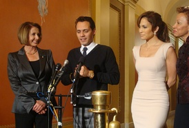 Jennifer Lopez and Marc Anthony, with Nancy Pelosi and Nydia Velázquez