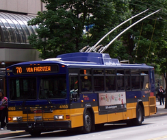Gillig Phantom-bodied trolleybus operated by King County Metro in Downtown Seattle