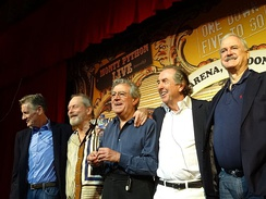Gilliam (second from left) with other members of Monty Python at the O2 Arena, London, in July 2014