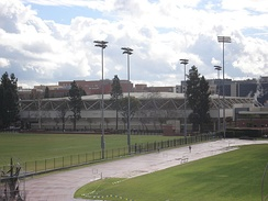 Pauley Pavilion prior to the renovation, view from Drake Stadium