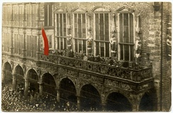 Proclamation of the Revolutionary Republic of Bremen (Bremer Räterepublik) in front of the town hall, 15 November 1918