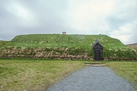 A reconstructed Viking house in Iceland