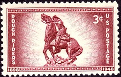 US Postage Stamp, 1948 issue, commemorating 50th anniversary of Theodore Roosevelt's Rough Riders.
