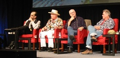 """Legendary Artists: Sounds of San Francisco"" at an Audio Engineering Society convention in 2012. Left to right: Mario Cipollina, Peter Albin, Selvin, Country Joe McDonald"