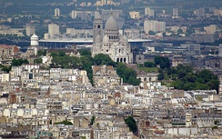 Stade de France visible from central Paris behind the Sacré-Cœur