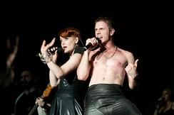Jake Shears and Ana Matronic performing in 2010 at the Fuji Rock Festival, Japan