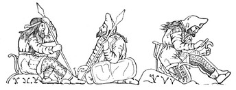Scythian warriors, drawn after figures on an electrum cup from the Kul-Oba kurgan burial near Kerch, Crimea. The warrior on the right strings his bow, bracing it behind his knee; note the typical pointed hood, long jacket with fur or fleece trimming at the edges, decorated trousers, and short boots tied at the ankle. Scythians apparently wore their hair long and loose, and all adult men apparently bearded. The gorytos appears clearly on the left hip of the bare-headed spearman. The shield of the central figure may be made of plain leather over a wooden or wicker base. (Hermitage Museum, St Petersburg)