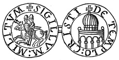 Depiction of the Templum Domini on the reverse side of the seal of the Knights Templar
