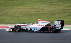 Trummer competitng at the Silverstone round of the 2014 GP2 Series.
