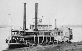 A typical river paddle steamer from the 1850s-the Ben Campbell