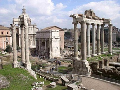 The Roman Forum was surrounded by many government buildings as the capital of Ancient Rome