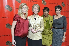 WFLD news staff at the 69th Annual Peabody Awards in 2010, at which the station's news department won for its reporting on the beating death of Derrion Albert.