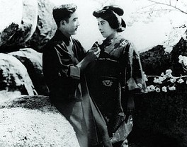 Sessue Hayakawa (left) with actress and wife Tsuru Aoki in a screen shot of the 1919 film The Dragon Painter.