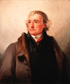 Thomas Jefferson by Thomas Sully, 1821. This portrait is considered a truthful representation of Jefferson's appearance during the time which Poplar Forest was designed and constructed[5]