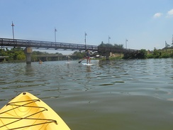 Canoeing and paddle boarding on White Rock Lake, TX, July 2014