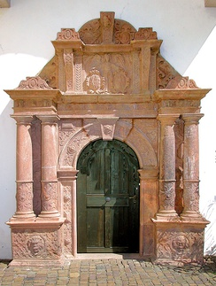 "The rhyolitic tuff portal of the ""church house"" at Colditz Castle, Saxony, designed by Andreas Walther II (1584)"