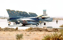 F-16Cs of the 388th TFW line an airfield in Southwest Asia during Operation Desert Storm on 23 January 1991.