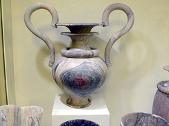 Ritual amphora of veined marble from Zakros. New palace period (1500–1450 BC), Heraklion Archaeological Museum, Crete.