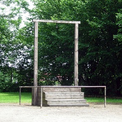 Gallows in Auschwitz I where Rudolf Höss was executed on 16 April 1947