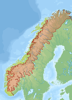 Scandinavian Mountains biogeographical region as defined by the European Agency of Environment and corrected by the Norwegian directorate for Nature Management. Red = Alpine region, Yellow = Atlantic region, green = Boreal region, blue = Arctic region.