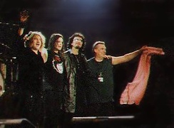 Black Sabbath on stage in Stuttgart on 16 December 1999, L-R: Butler, Osbourne, Iommi, Ward