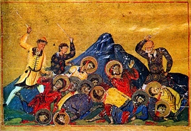 Bulgar soldiers slaughter Christians, from the Menologion of Basil II, 10th century.