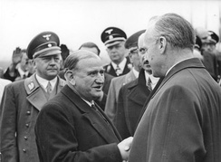 The French Premier Édouard Daladier (centre) with Ribbentrop at the Munich Summit, 1938