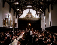 The 16th-century dining hall has a hammerbeam roof