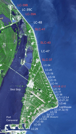 Map of launch complexes on Merritt Island and Cape Canaveral