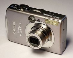 A digital point-and-shoot camera made by Canon