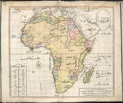 1803 Cedid Atlas, showing a map of the African continent from the perspective of the Ottoman Empire. The Ottomans controlled much of Northern Africa between the 14th and 19th centuries, and had vassal arrangements with a number of Saharan states.