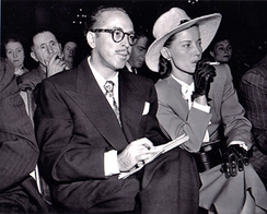 Dalton Trumbo and his wife, Cleo, at the HUAC in 1947