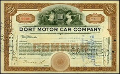 Share of the Dort Motor Car Company, issued 25. April 1922