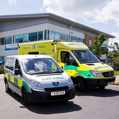 Two of the vehicles operated by the East Midlands Ambulance Service NHS Trust