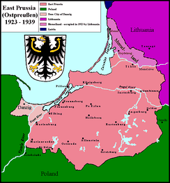 Königsberg within the borders of East Prussia from 1919 to 1939.