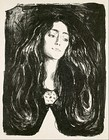 The Brooch, Eva Mudocci, 1903, lithograph print on paper, 76 cm × 53.2 cm (30 in × 21 in), Munch Museum, Oslo