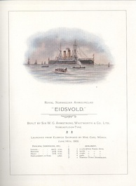 Eidsvold launch card in Tyne & Wear Archives & Museums collection item 450/1, launched at Elswick 14 June 1900 for the Royal Norwegian Navy.