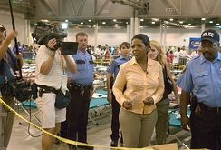 Winfrey visits evacuees from New Orleans temporarily sheltered at the Reliant center in Houston following Hurricane Katrina.