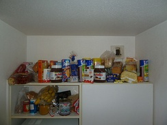 Food in a kitchen pantry