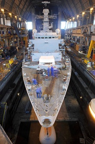 HMS Westminster inside the Frigate Refit Complex, 2009.