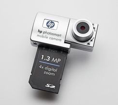 An HP camera with an SDIO interface, designed for use in conjunction with a Pocket PC