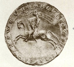 Seal of Henry II of Swabia (dated 1216) shows him as a mounted knight with a shield and banner displaying three leopards (three lions passant guardant)as the Hohenstaufen coat of arms; the three lions (later shown just passant) would later become known as the Swabian coat of arms.
