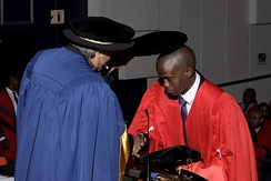 Graduation ceremony: vice chancellor Adam Habib capping a Ph.D graduate