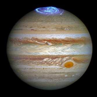Aurorae on the north pole of Jupiter generate cyclotron masers (Hubble)