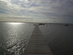 Pier extending from the Ilha dos Marinheiros into the lagoon