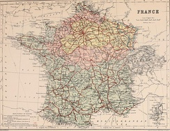 Map showing areas of France occupied during the Franco-Prussian War