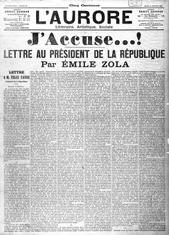 A newspaper headline for Émile Zola's open letter to the French government and the country, condemning the treatment of Captain Alfred Dreyfus during the Dreyfus Affair